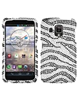 Aimo PNADR930LHPCDM010NP Dazzling Diamante Bling Case for Pantech Perception ADR930LVW - Retail Packaging - Black Zebra Skin