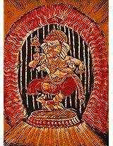 Exotic India Dancing Ganesha - Batik Painting On Cotton