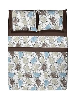 Casual Textil Juego de Sábanas Ginkgo (Marrón)