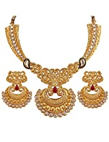 Variation Red & Green Kundan Gold Plated Necklace Set For Women