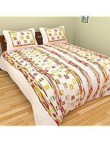 Cot Prints Rosette 100% Cotton Bed Sheet Set (100 x 108 Inches)(3 pieces)