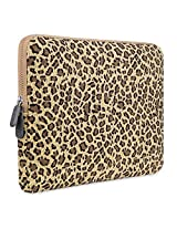 PLEMO Leopard's Spots Canvas Fabric 14 Inch Laptop / Notebook Computer Sleeve Case Bag Cover Yellow