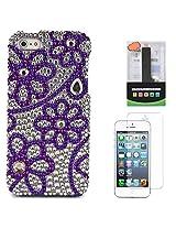 VanGoddy Flower Rhinestones Full Diamond Back Cover for Apple iPhone 5s (Purple) + 2600 mAh PowerBank + Matte Screen