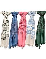 Exotic India Lot of Five Prayer Shawls - Multi-Coloured