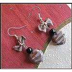 [E17B_005] Peach Bow Earrings 01