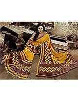 Shri Vaishnavi Designer yellow color Synthetic printed Saree (36029)