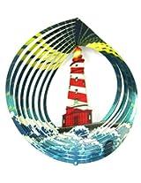 "Iron Stop 10"" 3 D Wind Spinner Designer Lighthouse Ocean Waves Powder Coated Metal + 2 Swivel Hooks Lawn Twister Usa"