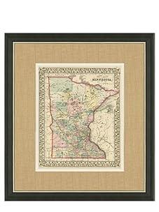 "Mitchell-Antique Map of Minnesota, 1860's-1870's, 21"" x 23"""