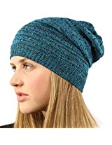 Light Thin Vented Soft Knit Long Beanie Slouchy Slouch Skull Hat Cap Blue Black