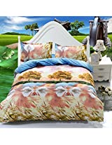 4pcs 3D Swan Lake Reactive Dyeing Polyester Fiber Bedding Set Queen Size