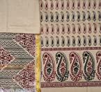 Beige Salwar Kameez Fabric from Hyderabad with Block Printed Paisleys - Pure ...