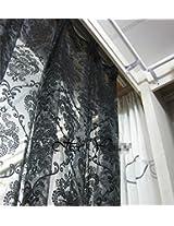 Flower fashion window screening organza fabic flocked light curtain for living room (300cm width style2)