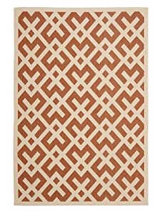 Indoor/Outdoor Graphic Pattern Rug (Terracotta/Bone)