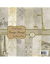 "Neo Gold leaf CrafTangles Scrapbook and Craft Paper Pack - Vintage Grunge (Size 12""X12"") 12 Designs 24 Sheets For Card & Scrapbooking"