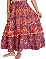 Exotic India Sanganeri Midi Skirt from Jodhpur with Printed Marriage Procession - Color Cordovan RedGarment Size Free Size