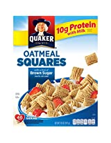 Quaker Oatmeal Squares, Crunchy Oatmeal Cereal with a Hint of Brown Sugar, 14.5-Ounce Boxes (Pack of 4)
