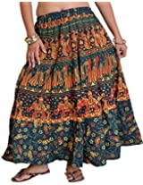 Exotic India Sanganeri Midi Skirt from Jodhpur with Printed Marriage Procession - Color Green GablesGarment Size Free Size
