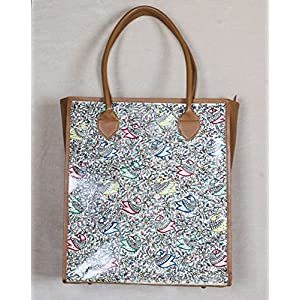 Moya Peacocks In The Jungle Leather Tote Bag