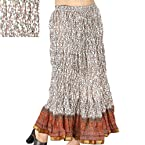Ethnic Booti Designer White Cotton Long Skirt Skirt White Skirt SKU DLI3SKT183
