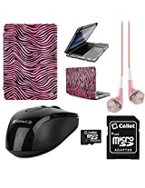 VangoddyTM Faux Leather Book Style Folio Protective Cover for Apple Macbook Pro 13.3-inch Laptops + Pink VanGoddy Headphones + Black USB Wireless Mouse + 16GB Memory Card (Pink Zebra)