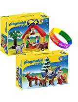 Playmobil 1.2.3 Set Christmas Manger And Santa Claus With Reindeer Sleigh With Dimple Child Bracelet