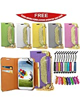 Samsung S4 Mini Glitter Wallet with Gold Chain Cover