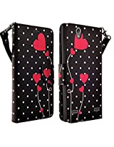 HTC Desire 626 / 626s Case- Magnectic Leather Folio Flip Book Wallet Pouch Case Cover With Fold Up Kickstand and Detachable Wrist Strap for HTC Desire 626 / 626s (Polka Dot)