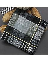 Jacquard Weave Cotton Square Men Handkerchief Pocket Hanky Wedding Party(Grey).