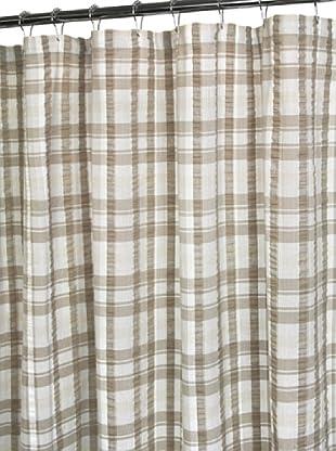 Park B. Smith Seersucker Plaid Shower Curtain, White/Linen/Natural, 72