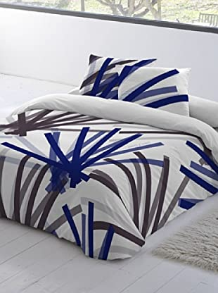 Devota & Lomba Juego de Funda Nórdica Brochas (Blanco / Azul / Gris)