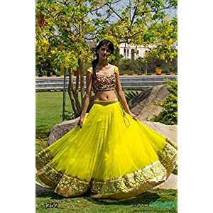 Poonam Creation Designer Lehenga Choli - Neon Yellow