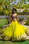 Indian Designer Bollywood Stylish Yellow Net Lehenga Choli Saree 1252