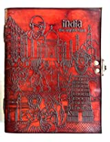 Handcrafted India Mystic Land Embossed Leather Big Journal/Notebook with C-Lock