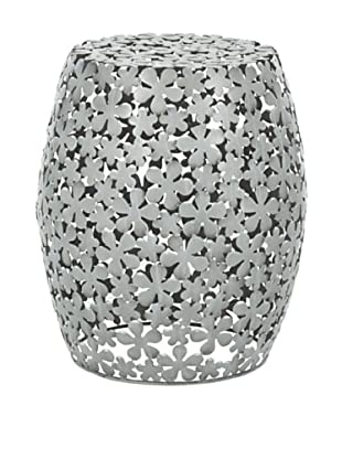Safavieh Floral Pierced Stool, Silver/Whitewash