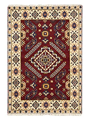 Hand-Knotted Royal Kazak Wool Rug, Dark Red, 4' x 5' 10