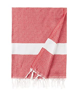 Nine Space Herringbone-Weave Fouta Towel (Red)