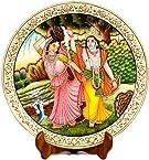 Exotic India Krishna Teasing Radha - Miniature Painting on Marble Plate