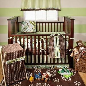 My Baby Sam Paisley Splash 3 Piece Crib Bedding Set, Lime