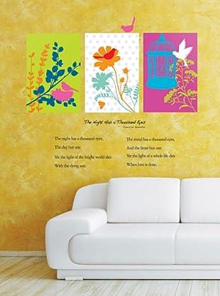 Vinilo Flores y los pájaros Multicolores