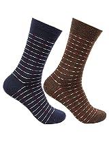 Bonjour Woolen Thin multicolour 2 Pair Men's Socks_BRO9239A-PO2 (Navy-Brown)