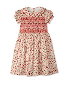 Rachel Riley Girl's Floral Smocked Dress (Red)