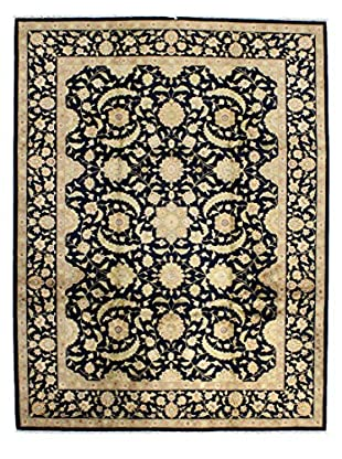 Bashian Hand Knotted Chinese Agra Silk Flower Rug, Navy, 8' 9