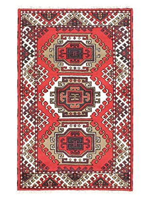 Hand-Knotted Royal Kazak Rug, Red, 3' 1