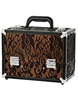 Danielle Cosmetic Trunk Make-Up Case, Gold/Black Lace