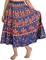 Exotic India Sanganeri Midi Skirt from Jodhpur with Printed Marriage Procession - Color Estate BlueGarment Size Free Size