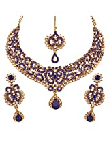 I Jewels Traditional Gold Plated Elegantly Handcrafted Stone Necklace Set with Maang Tikka & Earrings for Women M4042Bl (Blue)