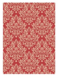 Indoor/Outdoor Floral Repeat Rug (Red/Cream)