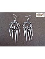 Under the Feather Silver Spike Danglers Earring