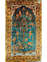 Exotic India Cyan-Blue Carpet from Kashmir with Knotted Tree of Life - Pure Silk on Silk - Hamdan Da