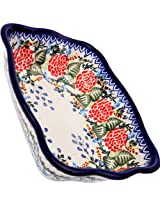 Polish Pottery Ceramika Boleslawiec-1208/280 7-3/4 by 6-1/8-Inch Motif Fala Baker, Royal Blue Patterns, Small